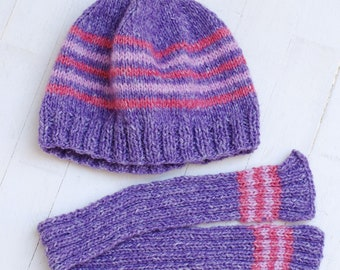 Set Hat And Scarf Knitting For Dolls Like Giggi Patti 7-8 Head Size Dolls Meadow Violet Purple Pink
