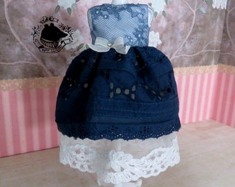 Rococo marine lace vintage bohemian dress for Blythe / Pullip