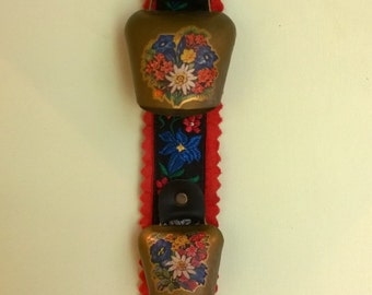 Vintage 3 cow bells on embroidered ribbon hanging decoration Austrian/Swiss?