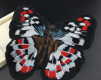 1pcs 29x28cm wide butterflies pocket embroidered appliques patches aq8ws3 free ship