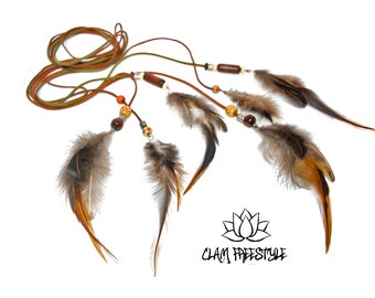 Natural Feather Belt Khaki Leather and Multifunction Wood Beads