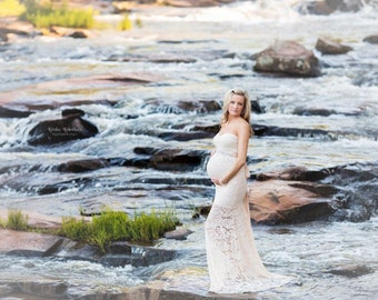 Maternity Dress for Photo Shoot-Lace Maternity Gown-Maternity Photo Shoot Dress-Maternity Dress for Baby Shower-Mermaid Style Dress-FELICITY