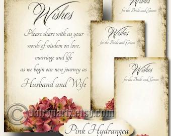 PINK HYDRANGEA Set of Wedding Wish Sign and Tags, Wish Tree Cards, Printable,DIY Weddings, Wish Tag, Shower, Wedding Shower, Wedding Wish