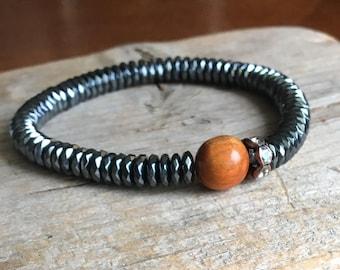 Hematite Bracelet, Mens Bracelet, Redwood, Single or Set of 4, Karen Hill Tribe Silver Charm, Stacking Bracelet, Stretch Bracelet
