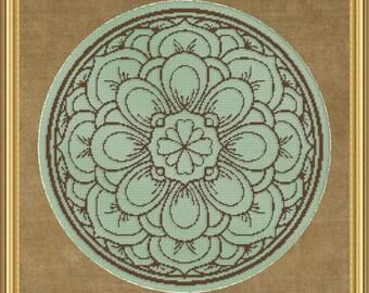 Cross Stitch Pattern Floral Medallion Monochrome No. 4 Single Color Design Instant Download PdF