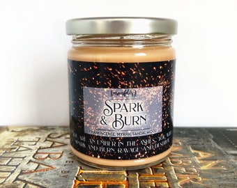 Spark and Burn | An Ember in the Ashes Inspired 4oz. or 8oz. Scented Soy Candle