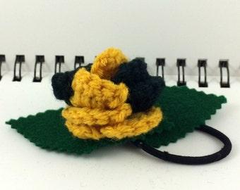 Crocheted Rose Ponytail Holder or Bracelet - Yellow and Black (SWG-HP-HWHU03)
