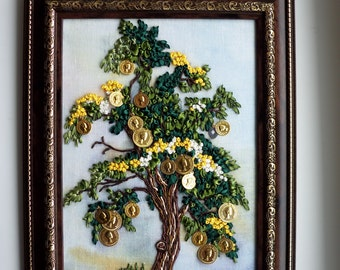 Yellow and Green Embroidered Ukrainian Money Tree with Decorative Coins