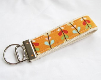 KeyFob Key Chain Wristlet in Bloom Vines in Orange - Fabric Keychain