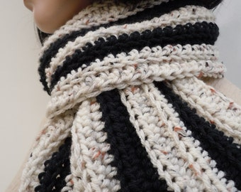 Scarf - Black and Tan with Color Flecks Scarf -Mens Scarf, Womens Scarf