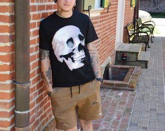 Skull Graphic Print T-Shirt. Black Unisex Short Sleeve Jersey Tee. Mens / Womens / Teens. Literally Dead.
