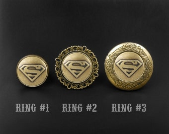 Superman Ring -Super Hero Ring -Locket Ring -Adjustable Personalized Ring -Gift for Girlfriend