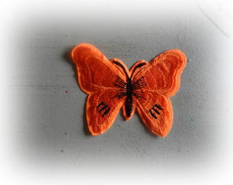 1 patch fusible patch / applique Butterfly in shades of orange and black 5.5 * 7 cm