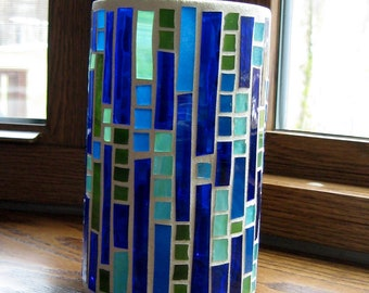 Stained Glass Mosaic Candle Holder-Blue and Green Mosaic-Home Decor-Mosaic Art-Decorative Candle Holder-Mosaic Vase-Desk Organizer