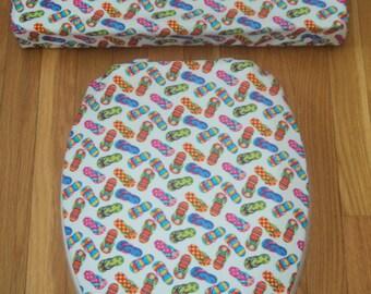 Flip Flops Toilet Seat & Tank Lid Cover Set