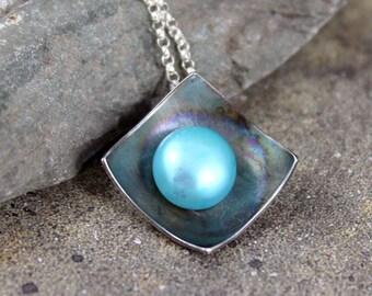 Pearl Pendant - Sterling Silver - Robin's Egg Blue Fresh Water Pearl - Organic Gemstone Necklace - Rustic Modern Jewellery - June Birthstone
