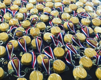 Olympic Gold Medal chocolate covered oreo