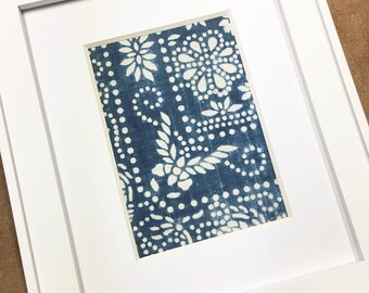 Chinese batik textile wall art, Blue and white home decor, Coastal home decor, Chinoiserie textile with butterfly