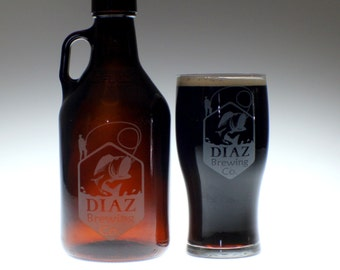 Personalized Beer Growler and 1 glass set with Man Fishing art  Homebrew, personalized growler, custom Beer Glass, Beer Gift, Beer