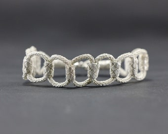 Handmade Knitted Silver Bracelet / 1000K Silver Bracelet / Braided Silver/ Ethnic Ancient Design / White / Pure silver / Sterling silver