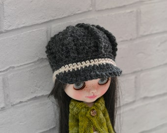 Dolls NewsBoy Hat, Charcoal and Stone Baker Boy Dolls Beanie Hat, Dolls Peak Hat, Dolls Beanie Peaked Hat,