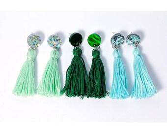 My Grass is Greener: Handmade Acrylic and Tassel Earrings by Little White Cat Jewellery