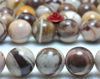 37 pcs of Natural Europe Brown Zebra Jasper smooth round beads in 10mm (04637#)