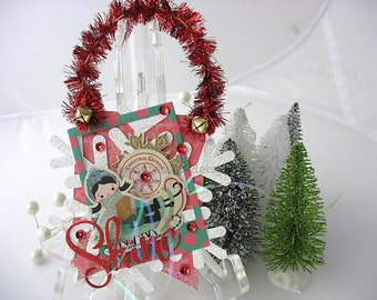 Vintage Style Collage Hanging Ornament~Christmas Ornament~Bunting~Snowflake~Girl on Sled~Christmas Express~Pink~Green~Red~White