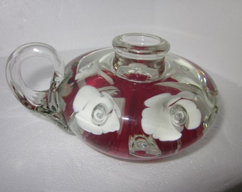 White and Red floral finger loop candlestick holder Art Glass Paperweight,charming,Shabby Chic,tabletop