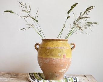 Antique confit pot, French glazed pottery, ochre yellow, decorative pot.