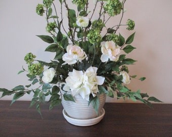Tall Floral Arrangement Beige White and Green Neutral Home Decor Home Accent in Ceramic Pot Hydrangea Ceramic Pot #BAS