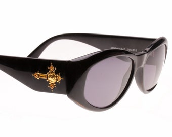 Gianni Versace Medusa 4V4 / C black jewelled cross sunglasses with rhinestone and carved gold adornments, NOS 1990s