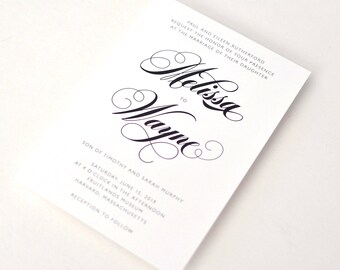 Modern Wedding Invites - Modern & bold, a sophisticated mix of chic fonts, Wedding Invitations (Melissa Suite)