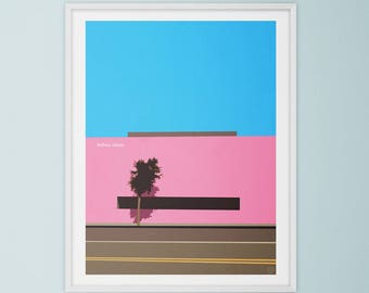 Pink Wall, Melrose Avenue, Los Angeles California. Mid Century Modern, Travel Art, Collage, Giclee Print, Retro Style, Wall Art