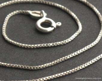 "Sterling Silver Box Chain Necklace (.9 mm) - 16"", 18"", 20"", or 24"" Great for charms or pendants / build your own necklace"