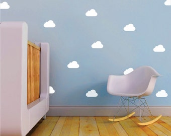 Kids Bedroom Clouds Decals, Nursery Clouds, Kids Clouds, Sky Wall Decal, Nursery Decals, Kids Room Wall Decals, Colored Clouds Wall Art, a39