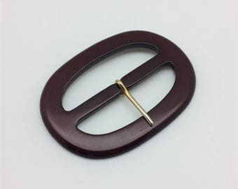 Large oval belt buckle vintage Burgundy edge gold