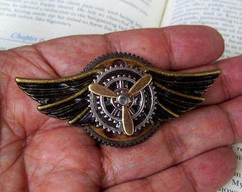 Steampunk Aviator Pin IV (P752) Bronze Alloy Wings and Gears, Brass Propeller, Tie Tack Backing
