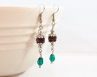 Purple, Teal and Silver Dangle Earrings, Drop Earrings, Plum Earrings, Floral Earrings, Crystal Earrings