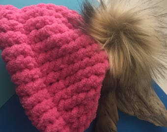 Bright Pink Baby Pom Hat