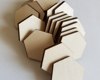 Unfinished DIY Wooden Hexagon Cut Outs ( Embellishments, Craft Projects, etc...)