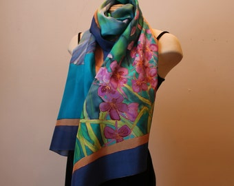 Handpainted silk shawl with wildflowers