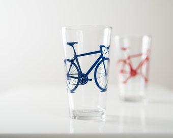 Bike Pint Glasses Pint Screen Printed Bicycle Glassware