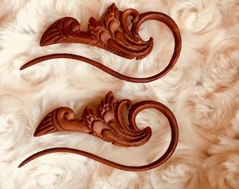 12g Hanging Wooden Earrings - Ornate