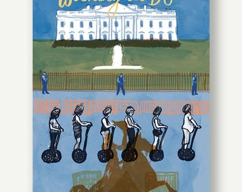 White House from Lafayette Sq - Postcards from Washington DC - illustration blue, segway print, American history, DC watercolor, travel art