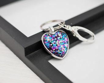 Metallic Heart Keychain, Heart Keychain, Glitter Keychain, Pink Keychain, Sparkle Keychain, Key Chain, Key Fob, Metallic Keychain, Gift Idea
