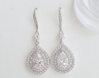 Wedding Earrings Dangle Earrings Crystal Bridal Earrings Long Teardrop Earrings Rose Gold Drop Earrings Bride Earrings Wedding Jewelry, Joni