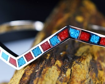 Sterling Silver skewed cuff bracelet w/ inlaid Kingman Turquoise and Red Coral