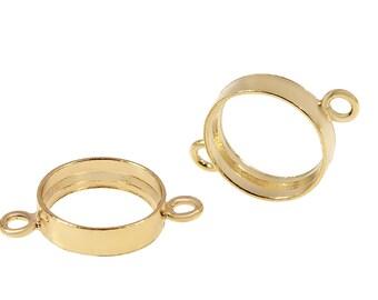 1 Pair 6 mm Gold Filled Bezel Connector (GF4003114)