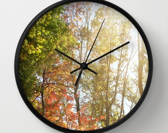 Art Wall Clock Autumn Light 1 Photography home decor forest orange yellow green trees brown branches earth tones lake house decor woods fall